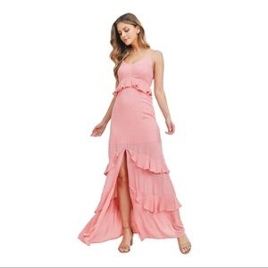 Maxi Peach Ruffle Dress with Front Slit